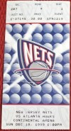 1999 New Jersey Nets ticket stub vs Atlanta