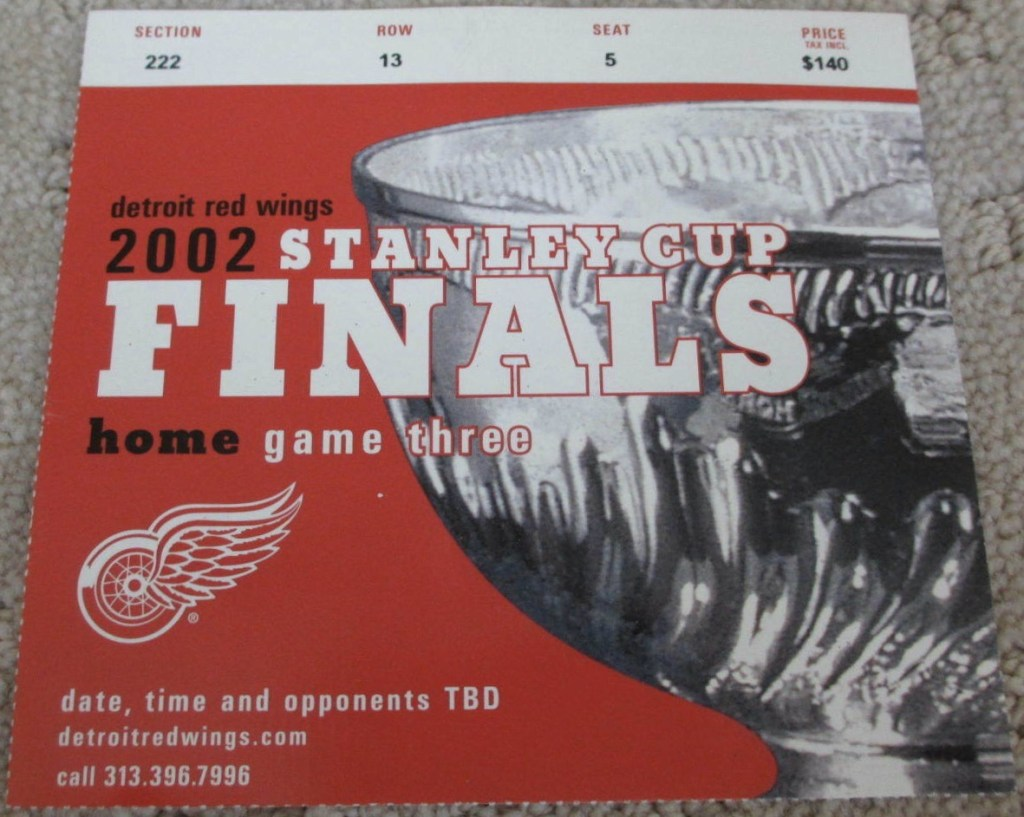 2002 Stanley Cup Final Game 5 ticket stub Red Wings over Hurricanes