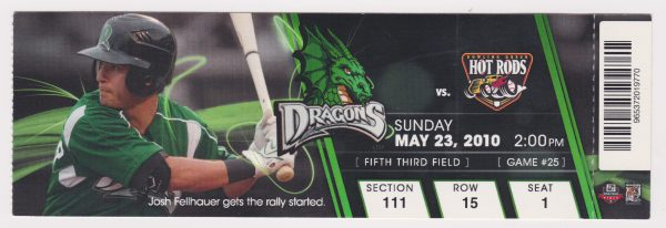 2010 Dayton Dragons ticket stub vs Bowling Green