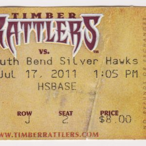 2011 Wisconsin Timber Rattlers ticket stub vs South Bend