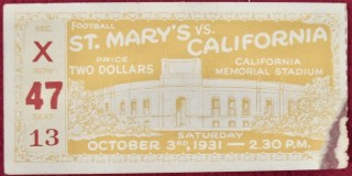 1931 NCAAF UC Berkeley ticket stub vs St. Mary's 15