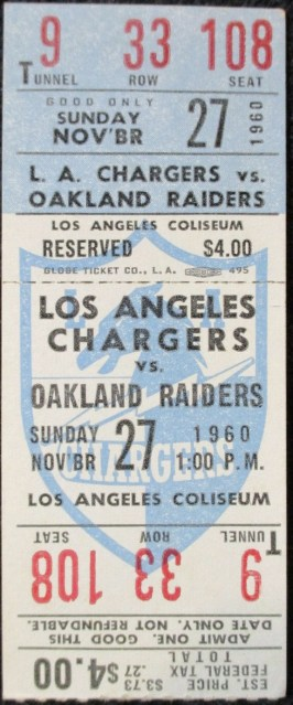 1960 Los Angeles Chargers ticket vs Oakland 240