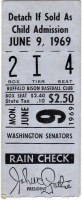 1969 Buffalo Bisons ticket stub vs Washington Senators