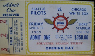 1969 Seattle Pilots Opening Day ticket stub vs White Sox 118