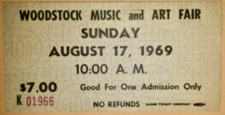 1969 Woodstock Sunday Only ticket stub Black Print 150