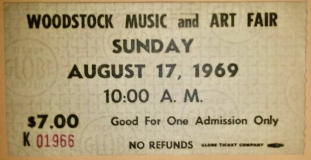 1969 Woodstock Sunday Only ticket stub Black Print