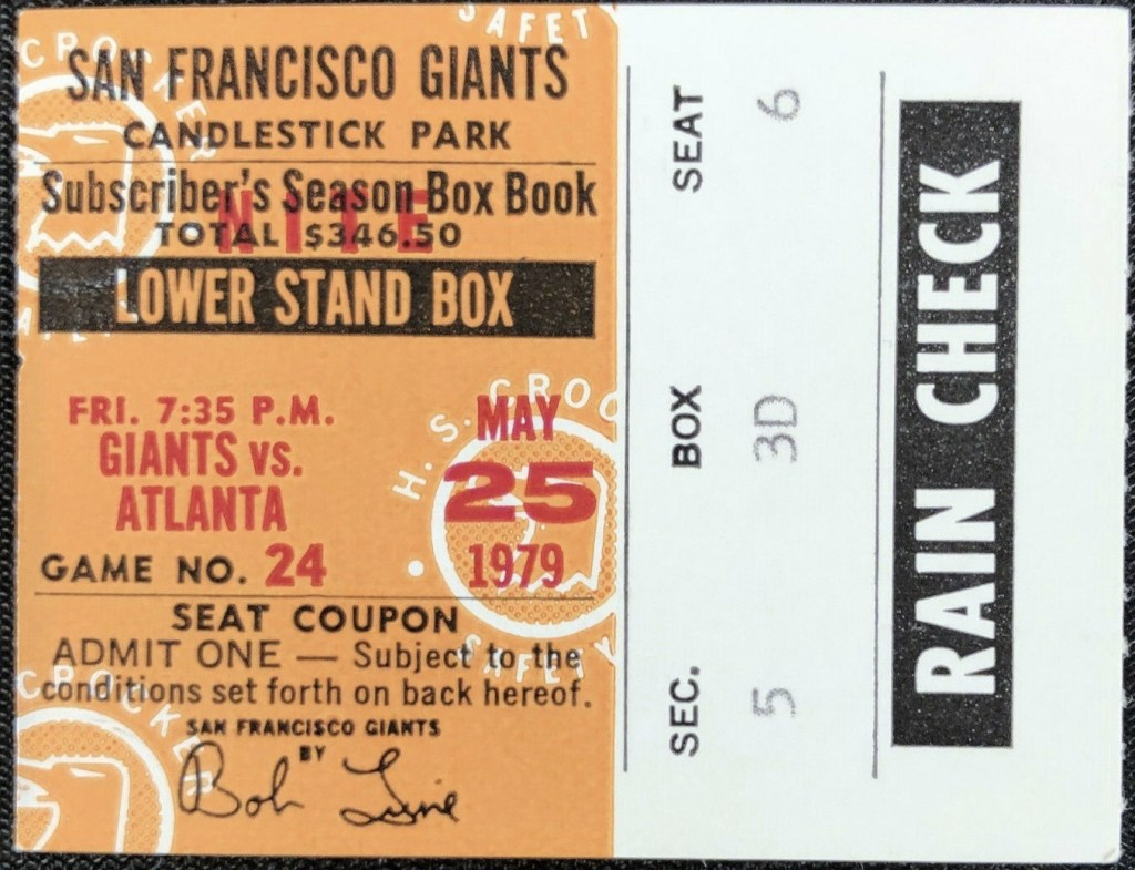 1979 Willie McCovey 508th Home Run ticket stub