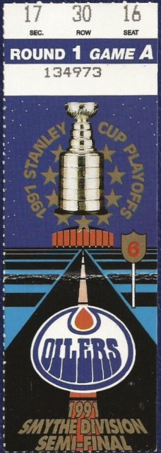 1991 Stanley Cup Playoffs Round 1 Game 3 ticket stub Flames Oilers 5
