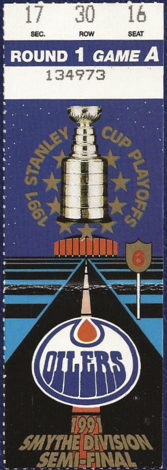 1991 Stanley Cup Playoffs Round 1 Game 3 ticket stub Flames Oilers