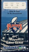 2000 NFL Wild Card Game ticket stub Dolphins Seahawks
