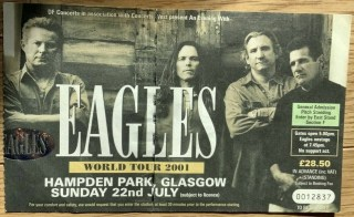2001 Eagles ticket stub Glasgow Scotland 6.50