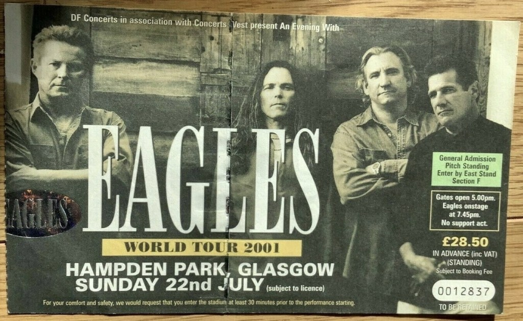 2001 Eagles ticket stub Glasgow Scotland