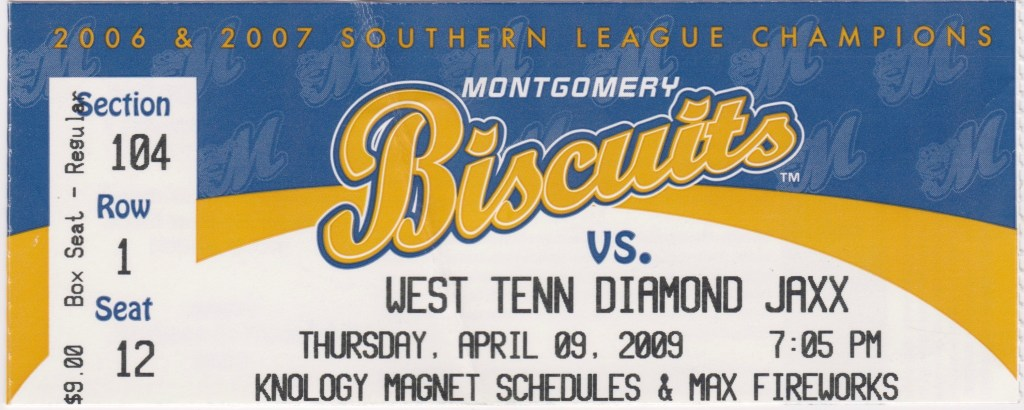 2009 Montgomery Biscuits ticket stub vs Diamond Jaxx