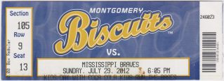 2012 Montgomery Biscuits ticket vs Mississippi