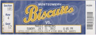 2012 Montgomery Biscuits ticket vs Mobile