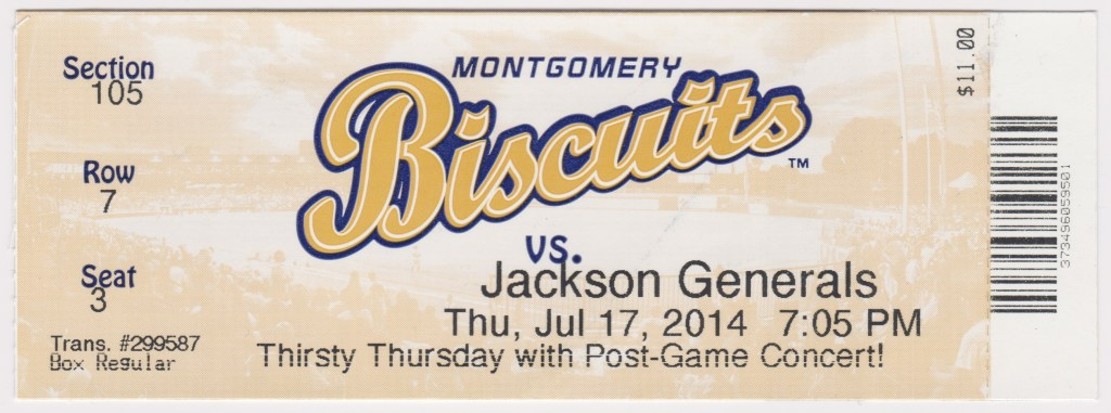 2014 Montgomery Biscuits ticket vs Jackson