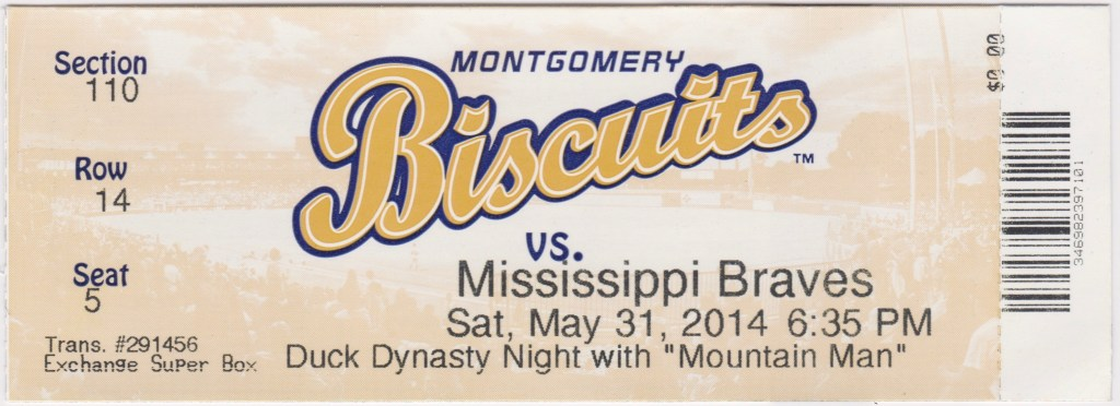 2014 Montgomery Biscuits ticket vs Mississippi