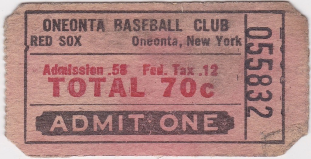 1966 Oneonta Red Sox ticket stub