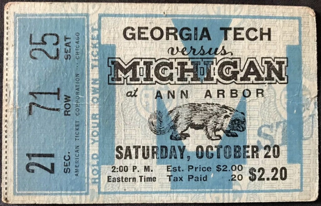 1934 NCAAF Michigan Wolverines ticket stub vs Georgia Tech