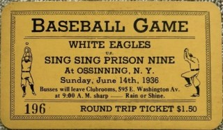 1936 Sing Sing Prison Black Sheep Integrated Negro League Game Used Ticket Stub 42