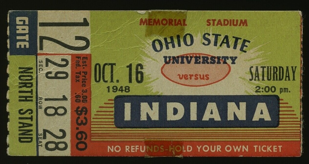 1948 NCAAF Indiana University ticket stub vs Ohio State