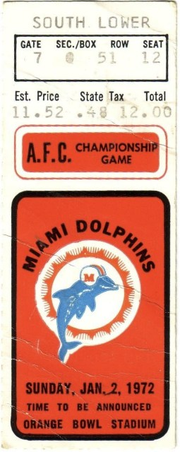 1972 AFC Championship Game ticket stub Colts Dolphins 46