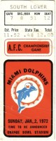 1972 AFC Championship Game ticket stub Colts Dolphins