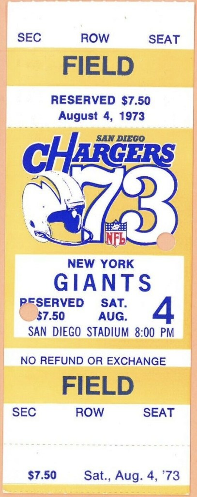 1973 Dan Fouts Debut ticket stub vs NY Giants