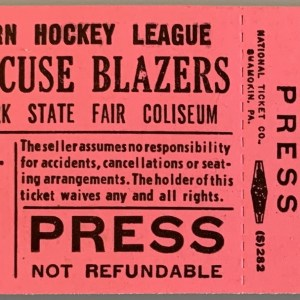 1973 Syracuse Blazers Unused Press Pass