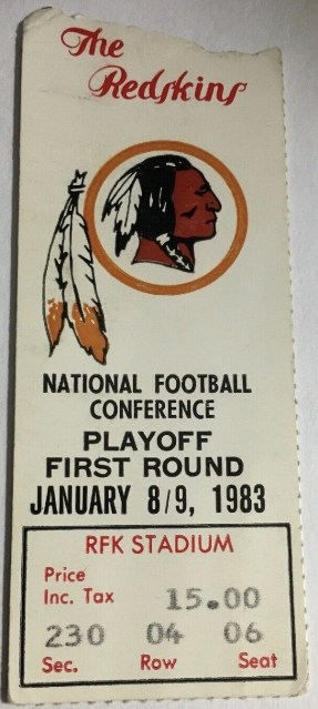 1983 NFC Wild Card Game Ticket Stub Detroit Washington 33