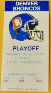 1987 AFC Divisional Game ticket stub New England Denver