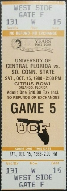 1988 NCAAF UCF Knights ticket stub vs South Connecticut State 10
