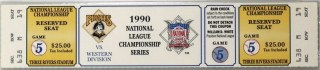 1990 NLCS Game 5 ticket stub Reds Pirates 19