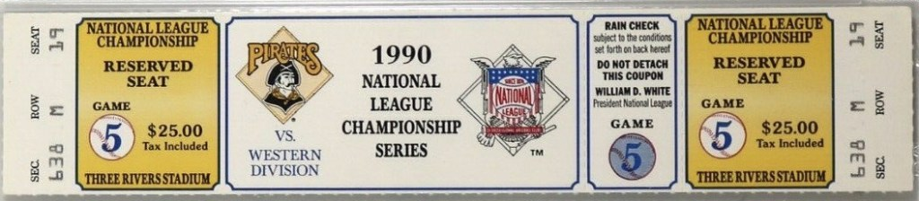 1990 NLCS Game 5 ticket stub Reds Pirates