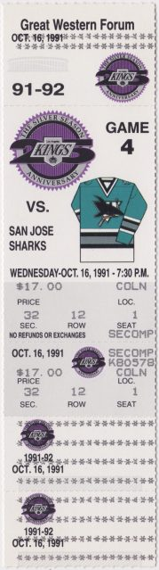 1991 Los Angeles Kings ticket stub vs San Jose 2