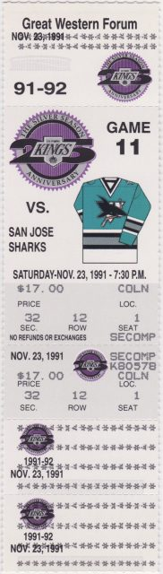 1991 Los Angeles Kings ticket stub vs San Jose