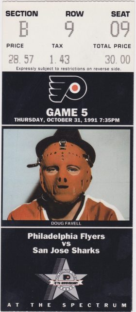 1991 Philadelphia Flyers ticket vs San Jose 1