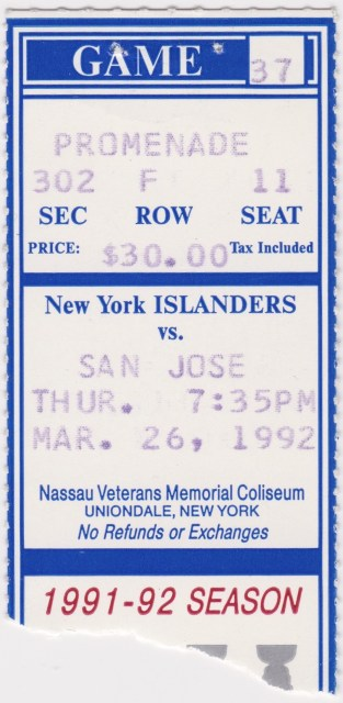 1992 New York Islanders ticket stub vs San Jose