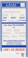 1992 New York Islanders ticket stub vs San Jose Sharks