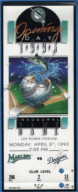 1993 Florida Marlins Inaugural Game ticket stub