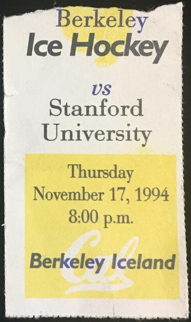 1994 NCAAMH Cal Berkeley ticket stub vs Stanford
