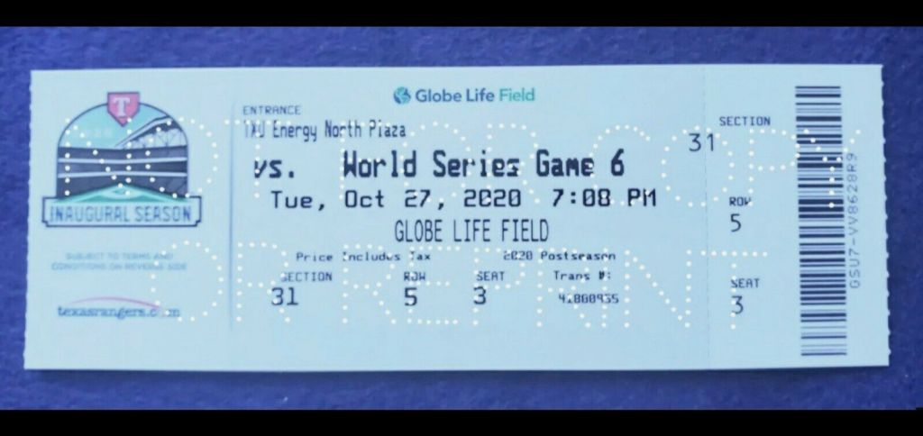 2020 World Series Game 6 ticket Rays Dodgers Clinch
