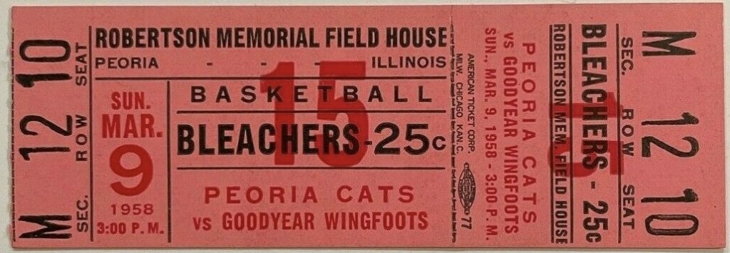 1958 Peoria Cats ticket stub vs Goodyear Wingfoots