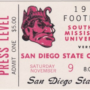 1968 NCAAF San Diego State ticket stub vs Southern Miss