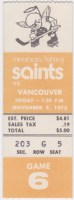 1973 Minnesota Fighting Saints ticket stub vs Vancouver