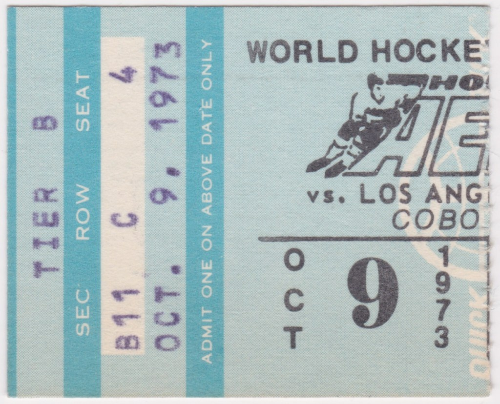 1973 WHA Houston Aeros ticket stub vs Los Angeles Sharks