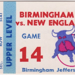 1976 Birmingham Bulls ticket stub vs New England Whalers