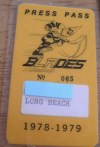 1978-79 PCL Los Angeles Blades Media Pass