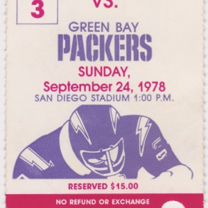 1978 San Diego Chargers ticket stub vs Packers
