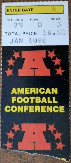 1980 AFC Championship Game ticket stub Oilers Steelers 33